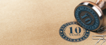 3d illustration of a rubber stamp with the text ten years anniversary printed on a brown paper. Tenth year celebration card background.
