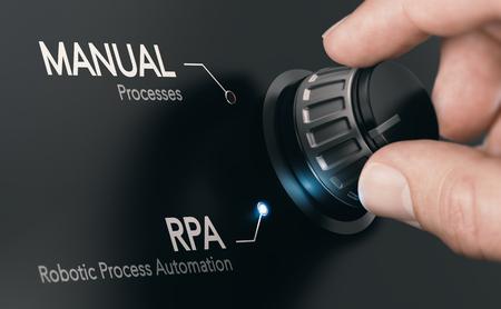 짙은 회색 배경에서 손잡이를 돌리고 RPA(로봇 프로세스 자동화) 모드를 선택합니다. 인공 지능 개념입니다. 손 사진과 3D 배경 사이의 합성 이미지.