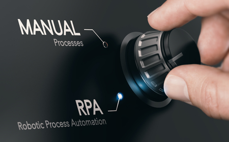 Hand turning a knob over dark grey background and selecting RPA (Robotic Process Automation) mode. Artificial Intelligence concept. Composite image between a hand photography and a 3D background. Banco de Imagens