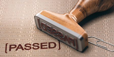 3d illustration of a rubber stamp with the text passed and a brown paper with the repeated phrase psychological test printed on it. Pre-employment testing concept. Stock Photo