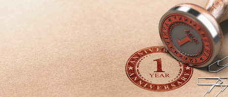3d illustration of a rubber stamp with the text one year anniversary printed on a brown paper. First celebration card background.