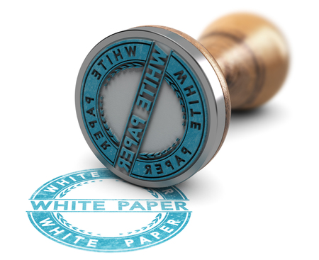 3d illustration of a rubber stamp over white background with the text white paper printed in blue color