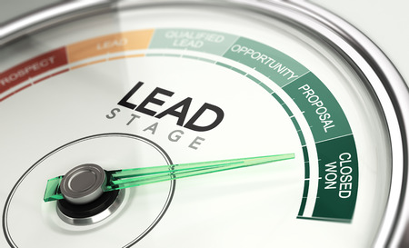 3d illustration of a conceptual gauge with needle pointing the last stage of a sales process. Inbound marketing concept.