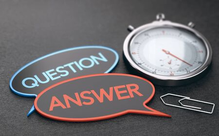 Stopwatch over black background with speech bubbles with the words question and answer. Concept of customer service wait times. 3D illustration