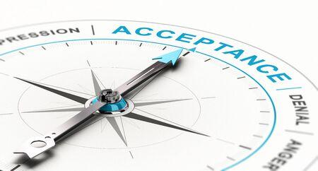 Konzeptioneller Kompass mit Nadel, die die Wortakzeptanz zeigt. Konzept der Trauerberatung. 3D-Darstellung Standard-Bild