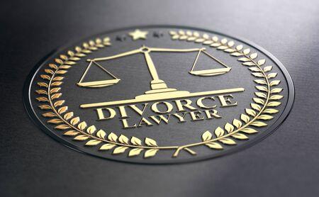 3D illustration of golden divorce lawyer sign over black paper background