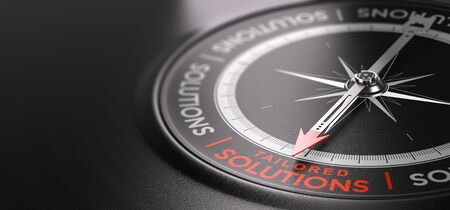 3D illustration of a compass over black background with the text tailored solutions written in red. Made-to-measure services concept. Banque d'images