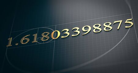 3D illustration of golden ratio. Fibonacci sequence concept over black background. Stock Photo