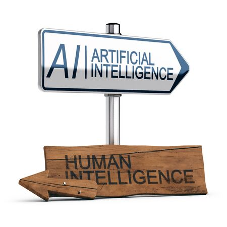 Conceptual 3D illustration of a modern signpost with thefollowing  text AI Artificial Intelligence and an other wooden old sign with the text human intelligence. White background.