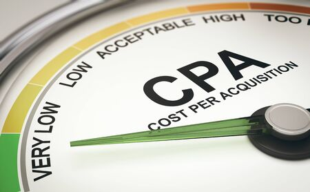 3d illustration of a conceptual gauge with the needle pointing the text very low. CPA, Cost Per Acquisition Concept.