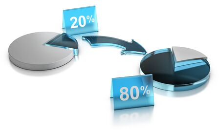 3D illustration of a graphic chart of Pareto principle or Rule of 80 20 over white background. Stock Photo