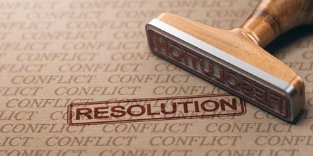 3D illustration of a rubber stamp over a paper background with many watermarks. Conflict resolution concept.