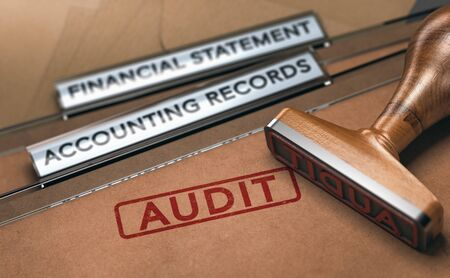 Rubber stamp over two folders with the text financial statements, accounting records and the word audit. Concept of financial auditing. 3D illustration. Reklamní fotografie