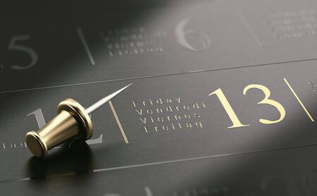 3D illustration of  friday the 13th written in golden letters over black background Stok Fotoğraf