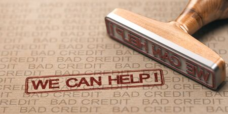 Close up of a rubber stamp with the text we can help over brown paper bad credits watermarks. Concept of debts solutions.