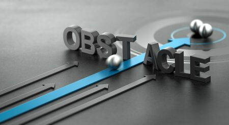 3D illustration of a blue arrow breaking the word obstacle, Concept of motivation and success. 스톡 콘텐츠 - 131993163