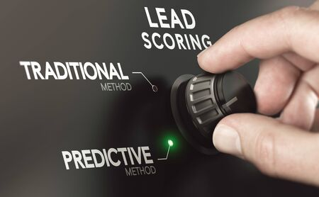 Close up of a hand turning a switch to choose predictive lead scoring instead of traditional methodology. Composite image between a hand photography and a 3D background.