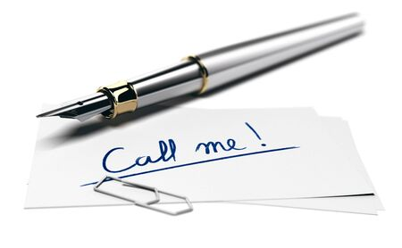 3D illustration of a fountain pen and a business card with the text call me over white background. Perspective view and blur effect.