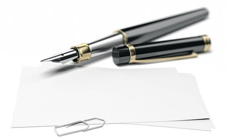 3D illustration of a fountain pen and a blank business card for communication over white background. Perspective view and blur effect on the pencil. Banco de Imagens