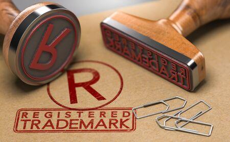 Illustration 3D de deux tampons en caoutchouc avec le texte de la marque déposée et le symbole R sur fond de papier brun. Concept d'enregistrement de marque de commerce