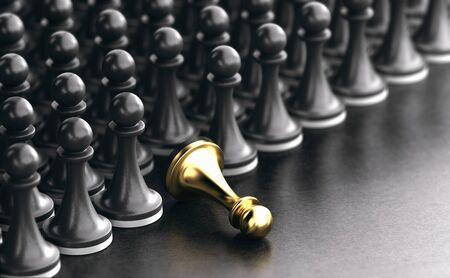 3D illustration of a fallen golden pawn