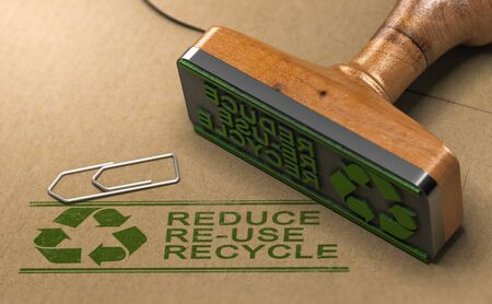 3D illustration of a rubber stamp with the text reduce, re-use and recycle printed on kraft paper. Reducing waste footprint concept. Banque d'images