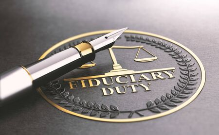 3D illustration of a fountain pen and a golden stamp where it is written the text fiduciary duty. Legal responsibilities concept.