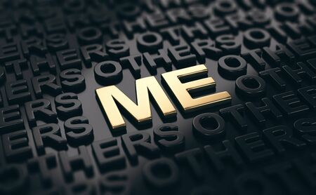 3D illustration of words others written in black and me written with golden letters. Concept of personal branding or self confidence.