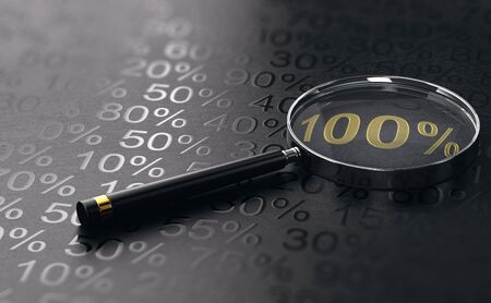 Magnifying glass over number 100 percent written with golden letters with other percentages surrounding it. Objective achievement concept. 3d illustration. Banque d'images