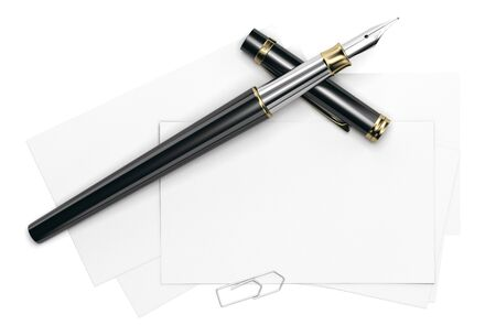 3d illustration of a blank card template over white background with fountain pen and paperclip. Front view. Banque d'images
