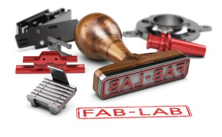3d illustration of a rubber stamp with the text fab-lab surrounded by mechanical parts over white background Banque d'images
