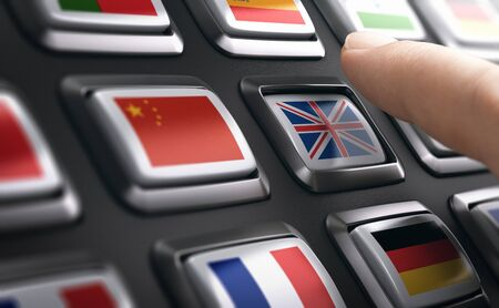 Finger pressing multilingual support buttons and choosing english language. Composite image between a hand photography and a 3D background.