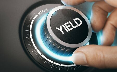 Man turning a knob to select high yield investment. Finance Concept. Composite image between a hand photography and a 3D background.
