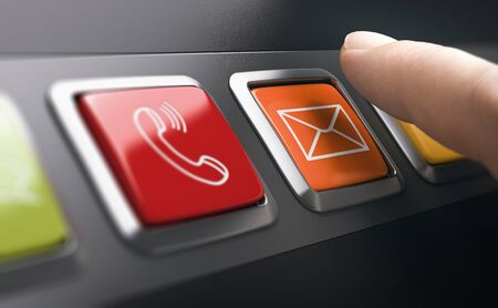 Man pressing an email button on a contact panel. Composite image between a finger photography and a 3D background. Banque d'images