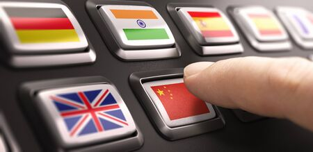 Finger pressing multilingual translation buttons with different flags and choosing chinese language. Composite image between a hand photography and a 3D background.