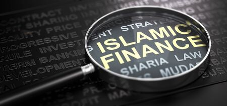 3D illustration of a magnifier over the text Islamic finance written with golden letter. Black background. Banque d'images