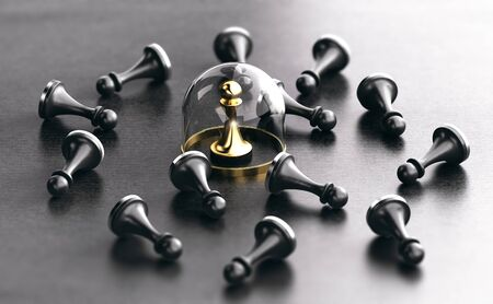 3D illustration of black pawns fallen on floor and a golden one protected by a glass dome. Individual protection and insurance concept.
