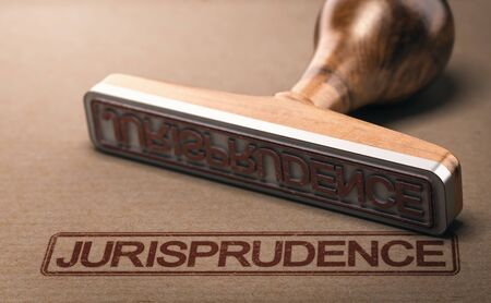 3D illustration of a rubber stamp with the word jurisprudence printed on paper background