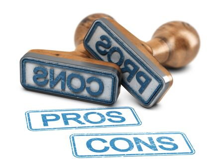 Two rubber stamps with the words pros and cons printed on white background. 3d illustration. Banque d'images