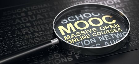 3D illustration of a magnifier over black background and focus one the text MOOC Massive Open Online Courses written with golden letters.