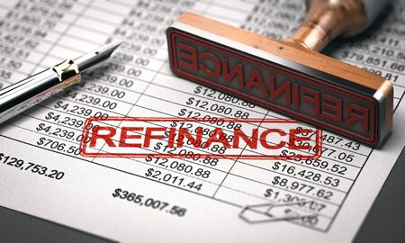 3D illustration of a rubber stamp with the word refinance over a mortgage lender rate sheet. Debt consolidation and debt or loan refinancing concept. Banque d'images