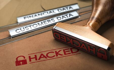 3D illustration of a rubber stamp with the word hacked printed on folders with the text financial and customer data. Banque d'images