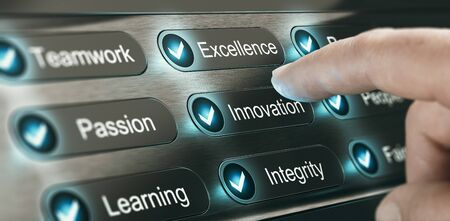 Finger pressing a button with the word innovation on a panel with core values of a company. Composite image between a hand photography and a 3D background.