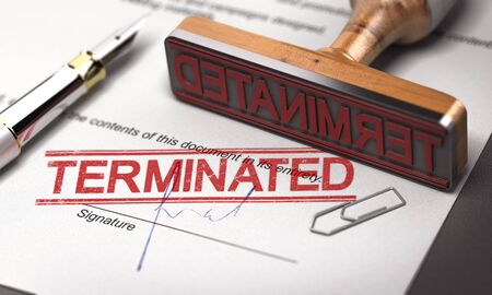 3D illustration of a contract termination agreement with a rubber stamp and the word terminated printed on the document.