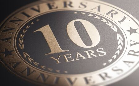3D illustration of a golden marking over black background with the text 10 years anniversary. Celebration announcement.