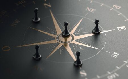 3D illustration of a golden compass rose over black background with five pawns. Business strategy and guidance concept Banque d'images