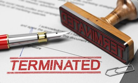 3D illustration of a contract termination agreement letter with a rubber stamp and the word terminated printed on the document. Stock Photo