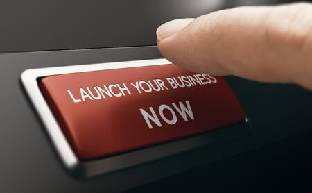 Finger pressing a red button with the text launch your business now. Concept of new venture or startup. Composite image between a hand photography and a 3D background.