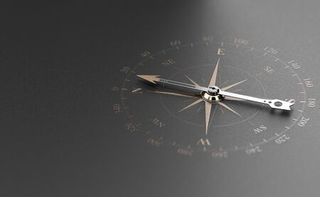 Golden compass over modern black background. Concept of business guidance or orientation, 3D illustration. Banque d'images