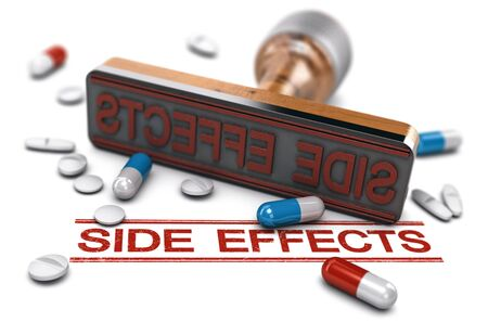 Rubber stamp with the word side effects over white  with pills and tablets.